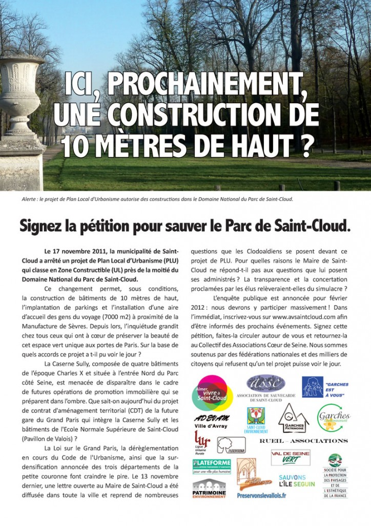 Domaine national Parc de Saint-Cloud - Petition Page 1