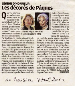 Le Parisien du 8 avril 2012